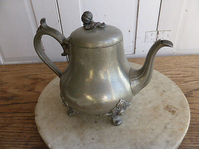 Early antique pewter teapot by James Dixon & Sons