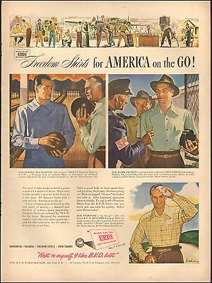 1943 WW2  era AD BVD Freedom Shirts for Men No Buttons !  090816)