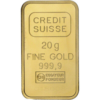 20 gram Gold Bar - Credit Suisse - Statue of Liberty 999.9 Fine Sealed w/ Assay