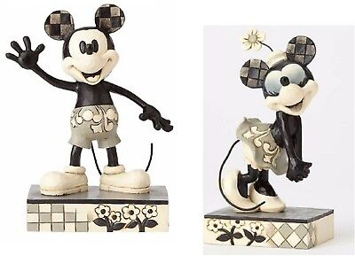 Jim Shore Disney Get a Horse Black White Minnie and Mickey Mouse Figurine Set 2