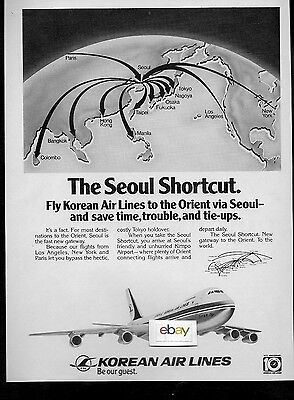 Korean Air Lines 1979 The Seoul Shortcut Save Time & Trouble & Tie Ups 747 Ad