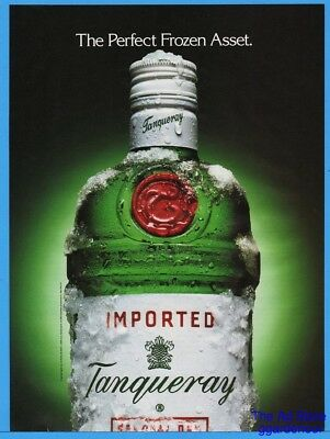 1992 Tanqueray Gin PERFECT FROZEN ASSET Bottle In Ice Photo Print Ad