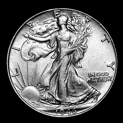 1946 P ~**ABOUT UNC AU**~ Silver Walking Liberty Half Dollar Rare US Coin! #Z87