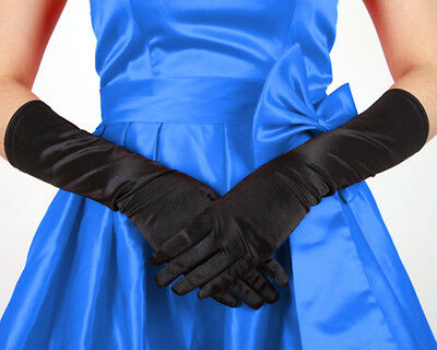 Black Women Evening Party Wedding Opera Finger Elbow Long Satin Gloves Gift US