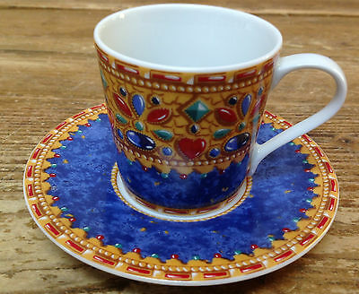 Genevieve Lethu France Limoges Demitasse Cup Saucer Set Merovee Hearts Geometric