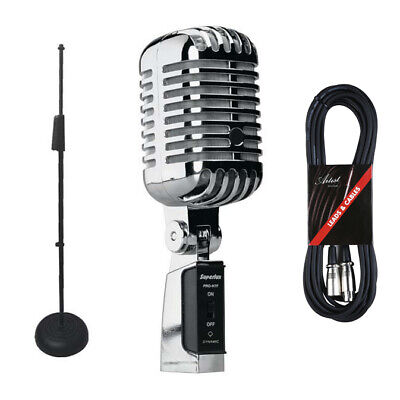 Superlux PROH7F Vintage-Style Supercardioid Microphone + Stand & Cable - New