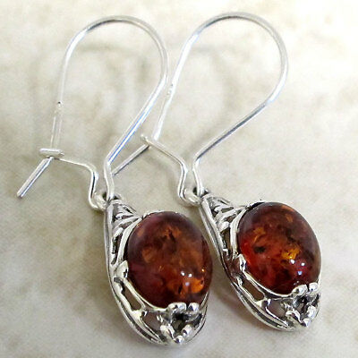 Adorable Natural Baltic Amber 925 Sterling Silver Fish Hook Earrings