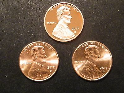 2017 P D S Lincoln Shield Cent Year Set Gem Proof & BU P&D US 3 Coin Lot