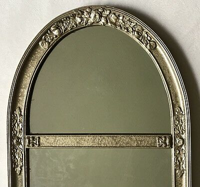 "Antique Floral Mirror Wood Glazed Gesso Gold Tone 32""x14"""