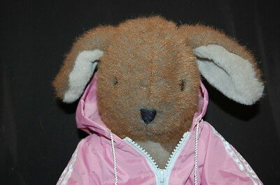 "CHOSUN BROWN BUNNY RABBIT PINK JACKET LOVEY 12"" VINTAGE Plush Stuffed Animal TOY"