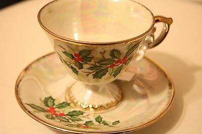 Enesco December Holly Cup And Saucer Set Porcelain