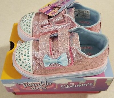NIB Skechers Twinkle Toes TODDLER 6 Light Up Shoes PINK 10600N Starlight #673717