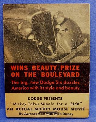 "DODGE AUTO & MICKEY MOUSE 1933 Combo Flip Book 2-7/8"" x 2 1/8"" Near Mint MEF170"