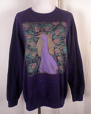vtg 80s retro Baroque Graphics Raglan Sleeve Peacock Sweatshirt indie SZ L