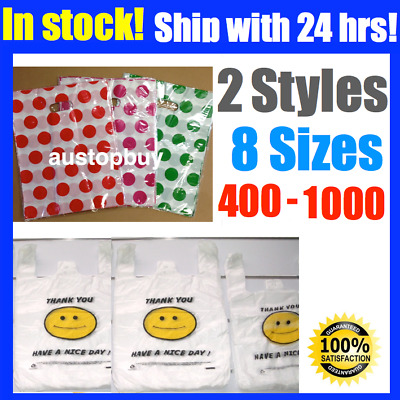 Plastic Shopping Die Cut Handle Singlet Carry Bags Smiley Face Pink Red Green