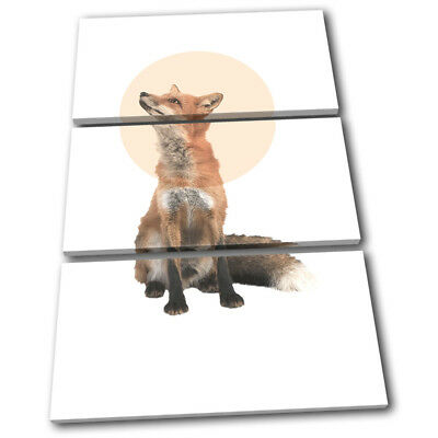 Fox Forest Modern Abstract Animals TREBLE CANVAS WALL ART Picture Print