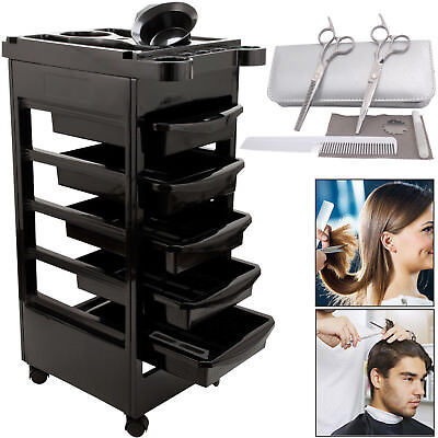 Salon Hairdresser Barber Spa Beauty Storage Trolley Hair Cart Sweeper Brush