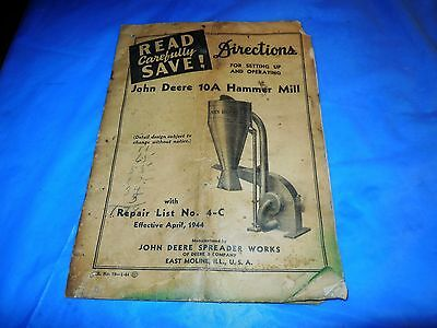 April 1944 John Deere 10-A Hammer Mill Directions For Set-Up&operations Manual!!