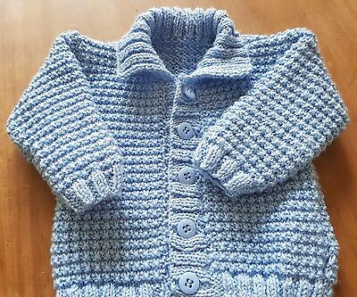 hand knitted baby cardigan in blue 0-3 months