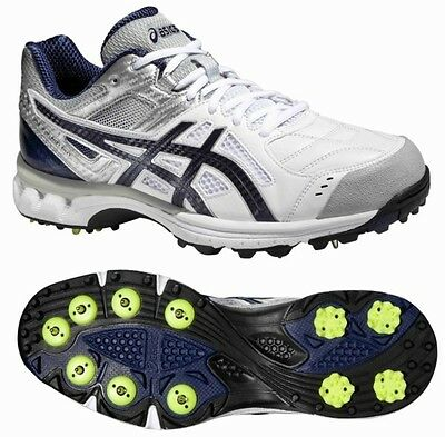 Asics Gel 220 Not Out White Blue Cricket Spikes Size UK 7 & 13
