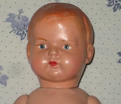 """Antique All Composition Boy doll- 11"""" tall-"""