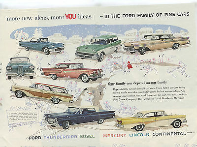 Ford Family Car Ad 1958 Thunderbird Edsel Mercury Lincoln Continental