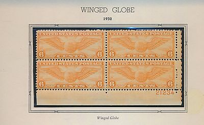 Airmail Plate Block Of 4 - Winged Globe - Mint Never Hinged - C19