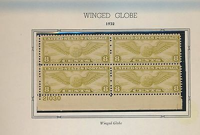 Airmail Plate Block Of 4 - Winged Globe - Mint Never Hinged - C17