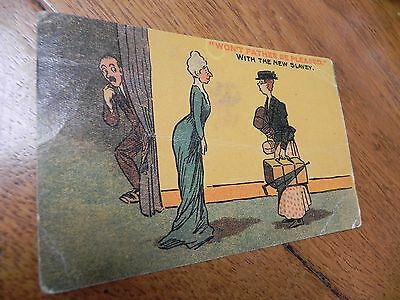 """WW1 postcard """"won't father be pleased with the new Slavey"""" Domestic lady Non PC"""