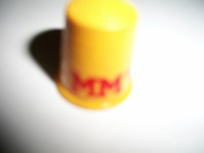 old vintage MM Minneapolis Moline Midwestern Division plastic sewing thimble