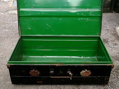 Vintage Metal Travel Trunk Chest