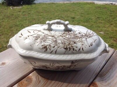 Antique Victorian Aesthetic Movement Brown Transferware Covered Dish Tureen
