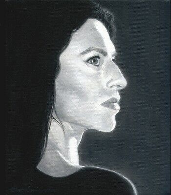 "'Claudia Black' Acrylic B&W portrait painting by Brian Collins, canvas 10"" x 12"""
