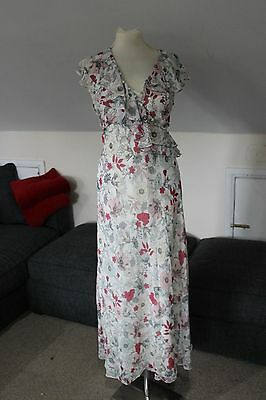 size 8 L beige chiffon maxi dress with pink detail marks and spencer