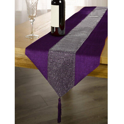 Chic Table Runner Sparkly Rhinestone Table Decor W/Tassels Dining Room Mat Decor