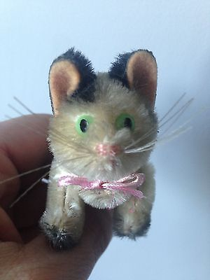 """RARE 1950's SCHUCO MINIATURE MOHAIR 3"""" BLACK WHITE FULLY JOINTED CAT NICE NO RES"""