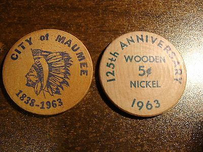 * Pair of Maumee, OH Wooden 5-cent Nickels, circa 1963 !