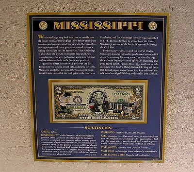 Mississippi  $2 Two Dollar Bill  Colorized State Landmark Uncirculated Authentic