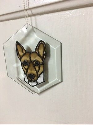 Basenji Hexagon Beveled Glass Suncatcher