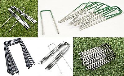 Galvanised artificial garden grass U PINS green metal bulk pegs anchor staples