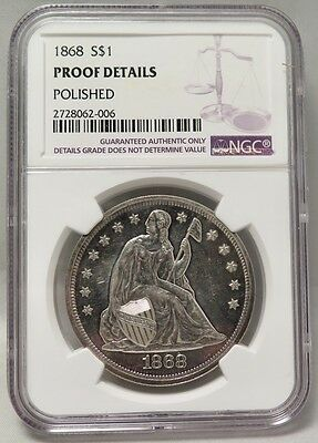 1868 Liberty Seated Silver Dollar (Ngc Proof Details, Polished)