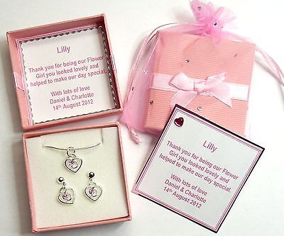 Clear/Pink/Red Rhinestone Heart Necklace +Earrings Bridesmaid Personalised Gift