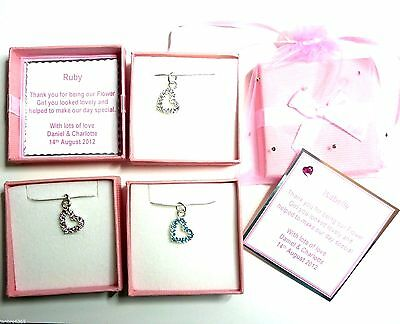 Crystal Heart Necklaces Bride Bridesmaid Flower Girl Personalised Boxed Gift