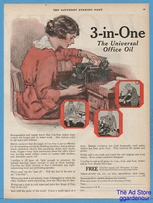 1920 Three-In-One Oil Co New York Antique Typewriter Can Art Vintage Office Ad