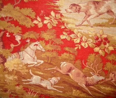 BEAUTIFUL 19th CENTURY ROMANTIC FRENCH TOILE DE JOUY c1870s STAG DOGS BERRIES