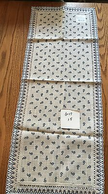 """NWT Jolentex  Printed Blue Floral on Natural Color Dolan Table Runner 38"""" by 15"""""""