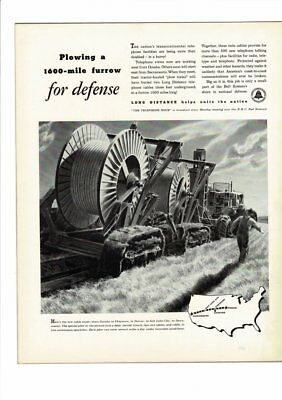 Vintage Plow American Telephone & Telegraph Bell System  Laying  Cable Ad Print