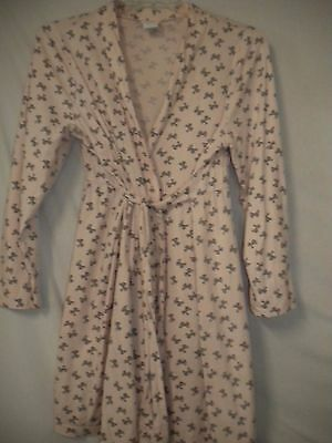 Oh Baby by Motherhood Large Pink Charcoal Bows Maternity Lounge Pajama Robe