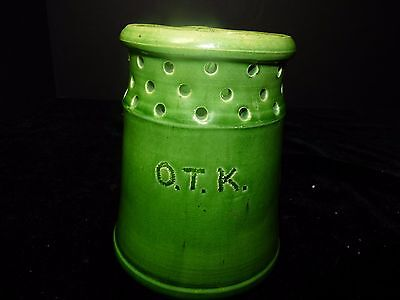 Antique Arts & Crafts Folk Art Yellow Ware Puzzle Mug Green Glaze O.T.K. Pottery