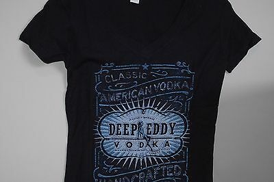 DEEP EDDY VODKA WOMENS NAVY Austin's Original PROMO T Shirt Hot Chick Logo LARGE